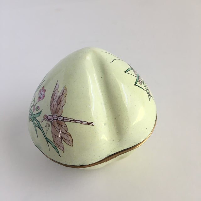 1980s Vintage Hand Painted Dragonfly Enamel Trinket Box For Sale - Image 5 of 10