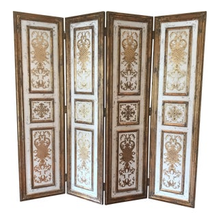 1990s Art Nouveau Gold 4 Panel Screen