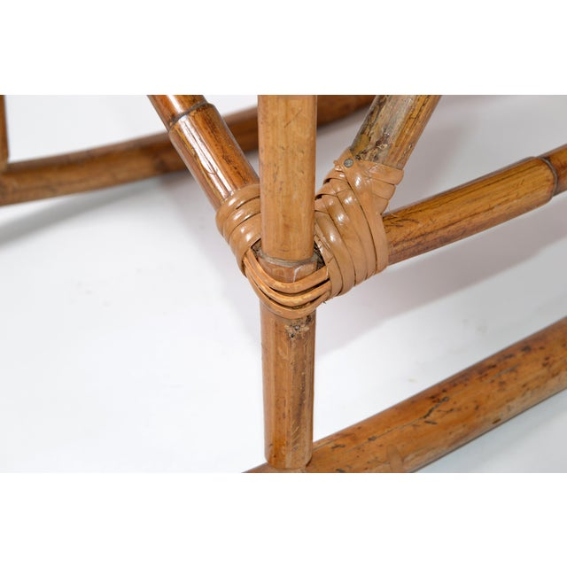 Wood Mid-Century Modern Boho Style Bamboo & Vinyl Children Rocking Chair For Sale - Image 7 of 13