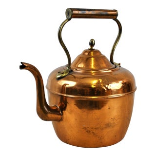 Antique English Victorian Copper Tea Kettle