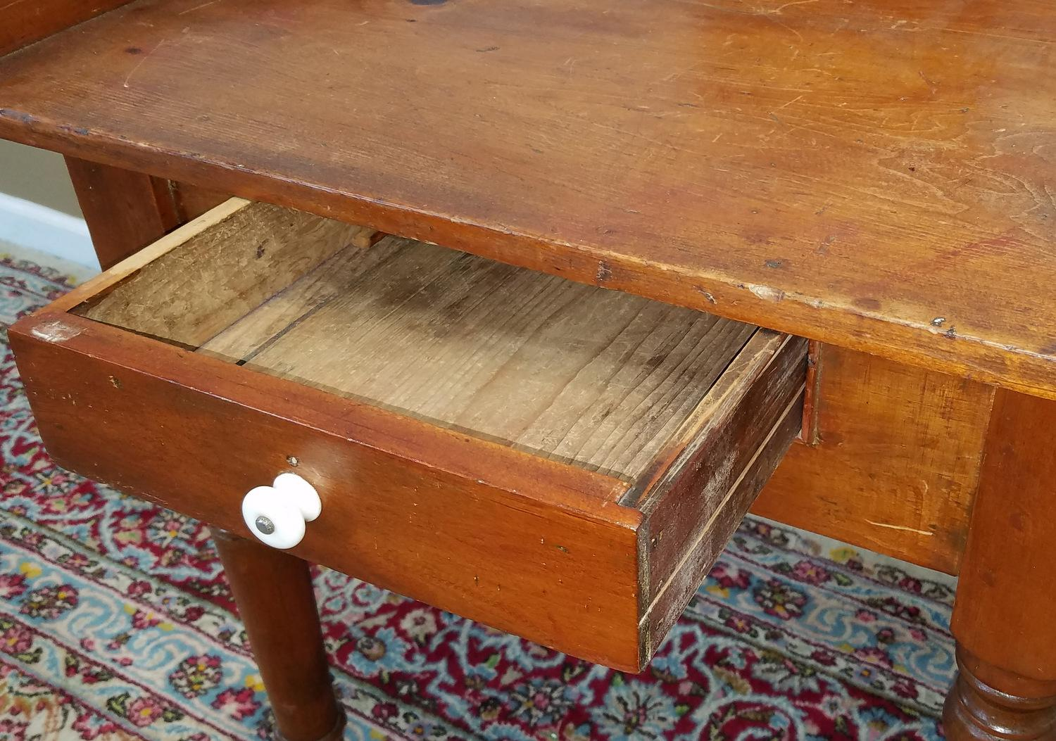 Antique 19th Century American Pine Single Drawer Wash Stand Table C1880    Image 7 Of 10