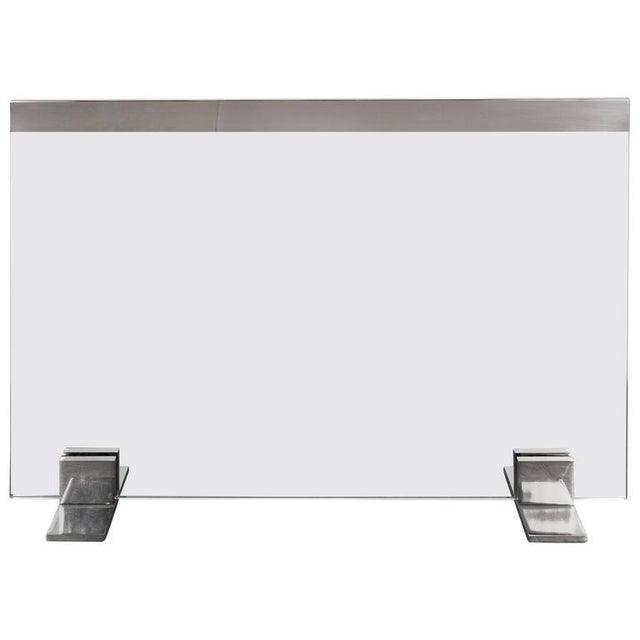 Custom Modern Tempered Glass Fire Screen with Polished Nickel Strip and Feet For Sale - Image 9 of 9