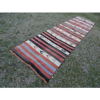 1980s Vintage Striped Turkish Kilim Runner 2'12'' X 10'10'' Preview