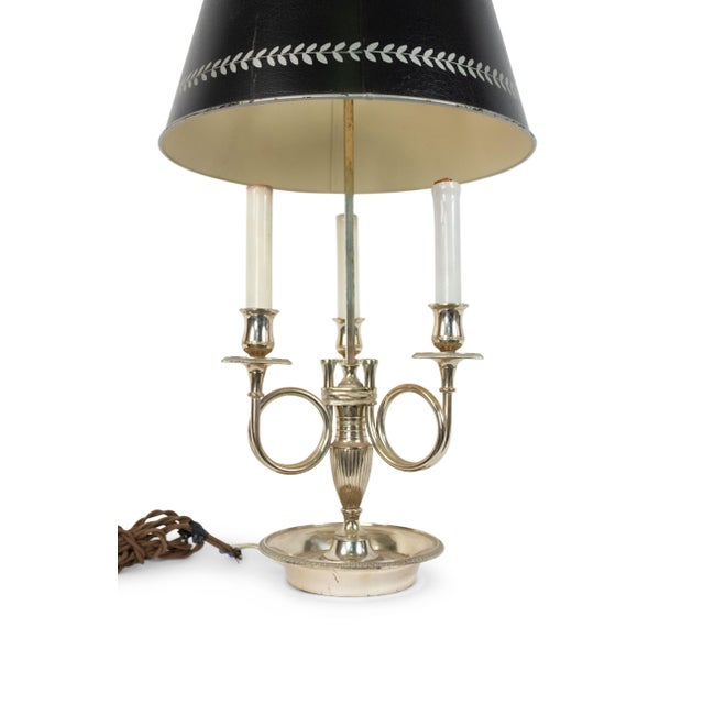 French Empire style silver plate 3 arm bouillotte table lamp with horn motif and green tole shade (as is, missing feather...