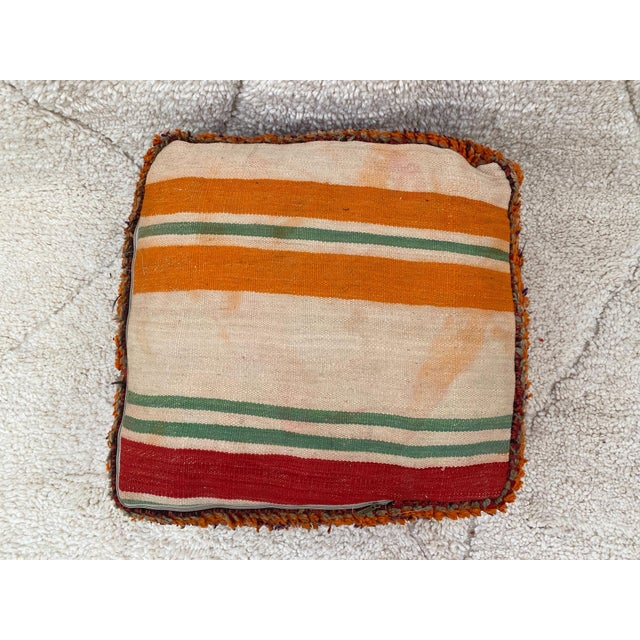 Ruby Red Moroccan Red Unstuffed Pouf For Sale - Image 8 of 13