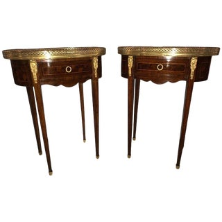 Pair of 19th Century Parquetry Inlaid Marble-Top End Tables or Lamp Tables For Sale