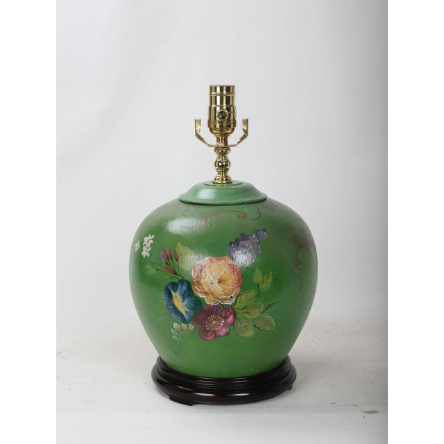 20th Century Art Deco Hand Painted Porcelain Table Lamp For Sale - Image 9 of 9