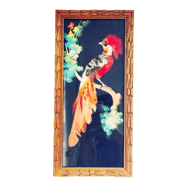 Vintage Feather Bird Art Wall Hanging - Image 1 of 5