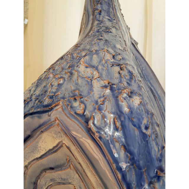 Ceramic Signed Large Blue Ceramic Italian Lamps, 1980s Mediterranean Style - a Pair For Sale - Image 7 of 12