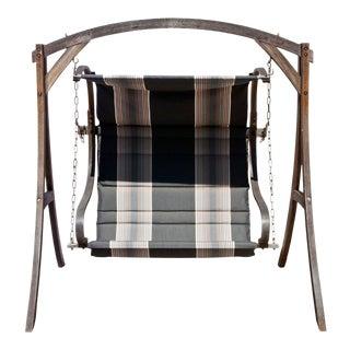 Vintage Outdoor Sunbrella Upholstered Swing For Sale