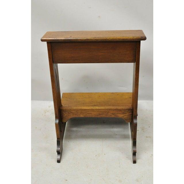 Vintage Arts & Crafts Mission Oak Wood Prayer Kneeler Kneeling Bench Seat For Sale - Image 10 of 12