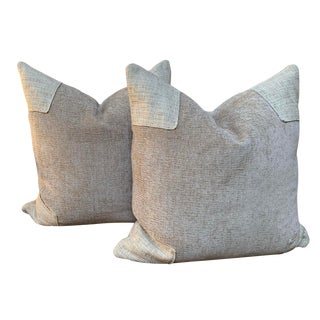Contemporary Taupe Chenille and Tweed Pillows - a Pair For Sale