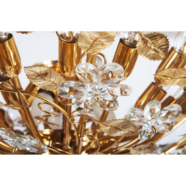 Huge Bras and Crystal Flush Mount Chandelier For Sale - Image 11 of 13