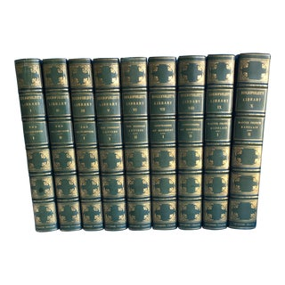 Leather Bound Bibliophilst's Library Books - Set of 9 For Sale