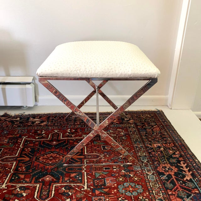 """2010s Worlds Away """"x"""" Upholstered Stool For Sale - Image 5 of 5"""