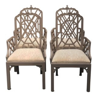 1970s Vintage Century Furniture Pagoda Chippendale Chairs - Set of 4