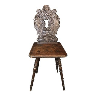 British Oak Chair With Carved Back For Sale
