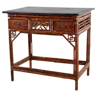 English Chinese Chippendale Chinoiserie Style Bamboo Table For Sale