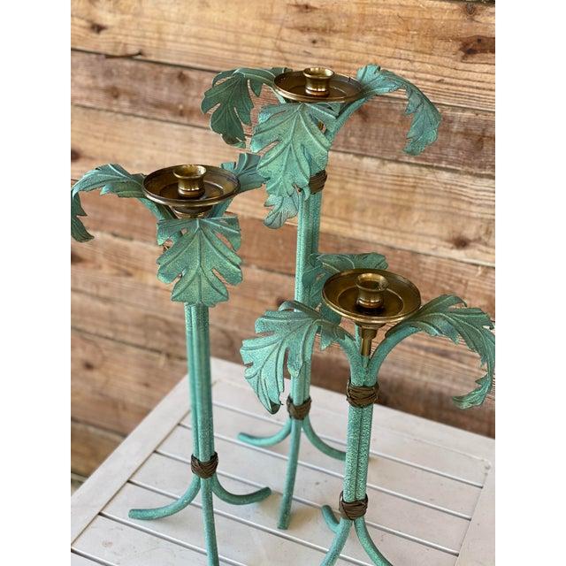 Hollywood Regency Verdigris and Brass Palm Leaf Candle Holders - Set of 3 For Sale - Image 10 of 12