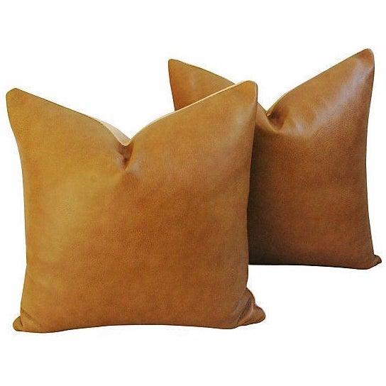 Custom Italian Golden Tan Leather Pillows - A Pair - Image 1 of 5