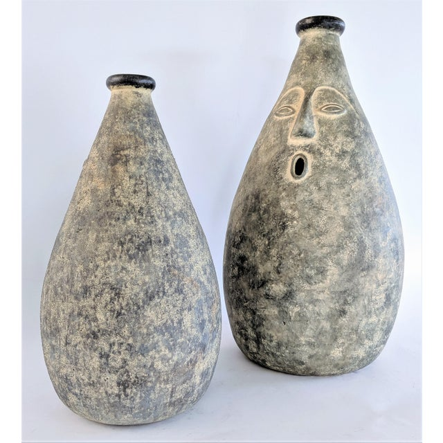 Gray Large Whimsical Ceramic Stoneware Face Vessels - a Pair For Sale - Image 8 of 12