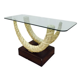 Double Faux Horn Based Console Table For Sale