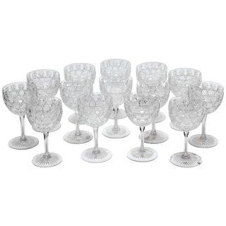 14 American Brilliant Cut-Glass Wine Goblets, Russian Pattern, Antique For Sale