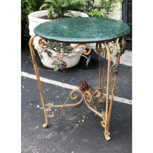 Vintage Iron Tole & Marble Top Grape Vine Garden Table For Sale - Image 4 of 5