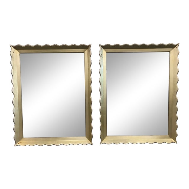 Large Gold Distressed Scallop Frame Mirrors - a Pair For Sale