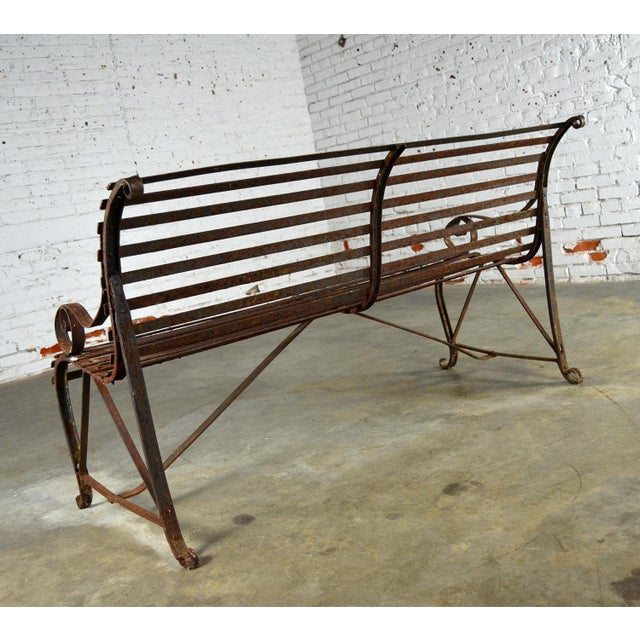 Antique 19th Century Forged Strap Iron Garden Bench For Sale - Image 5 of 10