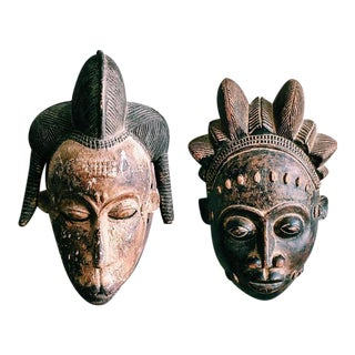 Antique Hand-Carved Tribal Masks - A Pair