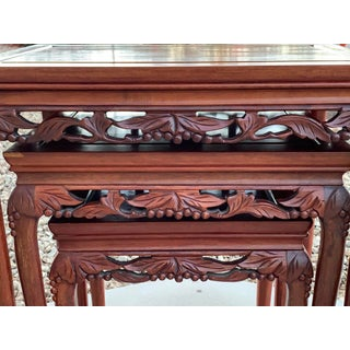 Vintage Hand Carved Rosewood Nesting Tables - Set of 3 Preview