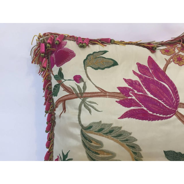 Vintage Colorful Silk Pillow With Spring Fresh Flowers Designs and Trim For Sale In Los Angeles - Image 6 of 13