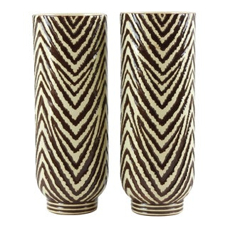 Red Wing Mid Century Art Pottery Zebra Vases - a Pair For Sale