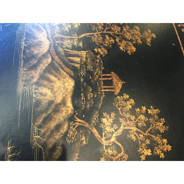 Brass Chinoiserie Oval Metal Cocktail Table For Sale - Image 7 of 12