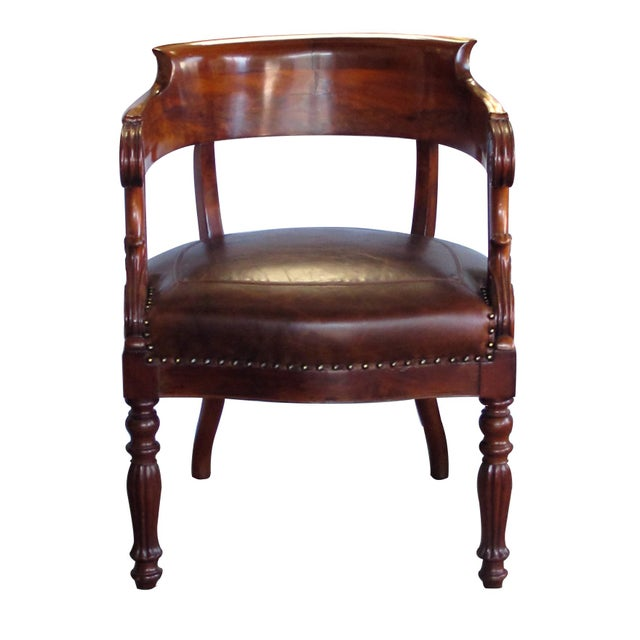 Federal French Restoration Carved Mahogany Barrel-Back Desk Chair With Acanthus Leaves For Sale - Image 3 of 9