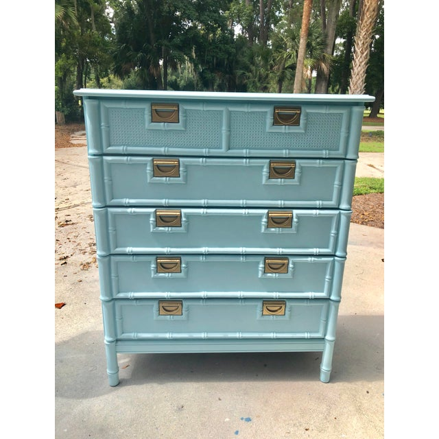 Stanley Furniture Faux Bamboo Five Drawer Chest of Drawers For Sale - Image 4 of 11