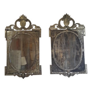 Venetian Etched Mirrors - A Pair For Sale
