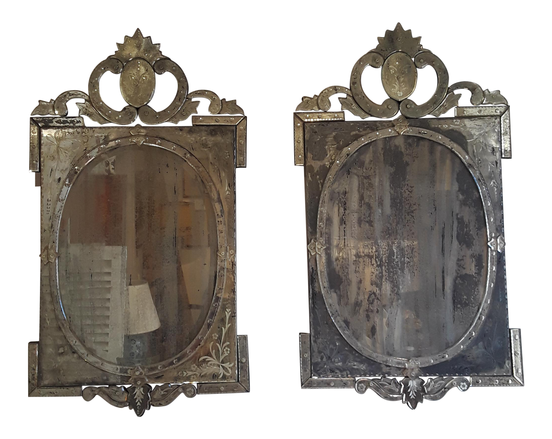 Venetian Etched Mirrors   A Pair