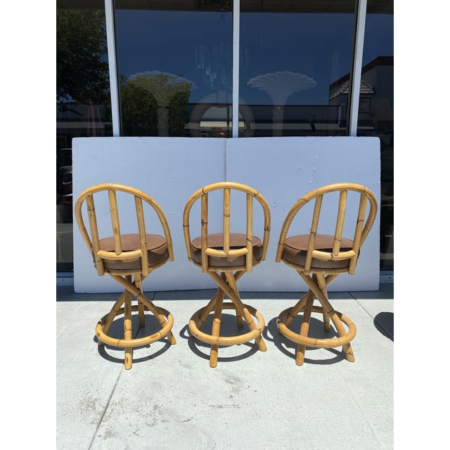 Boho Chic Real Bamboo Counter Stools With Twist Legs Set of Three For Sale - Image 3 of 13