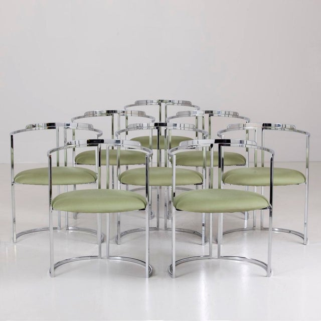 Set of 8 Nickel Plated Dining Chairs 1960s For Sale - Image 4 of 4