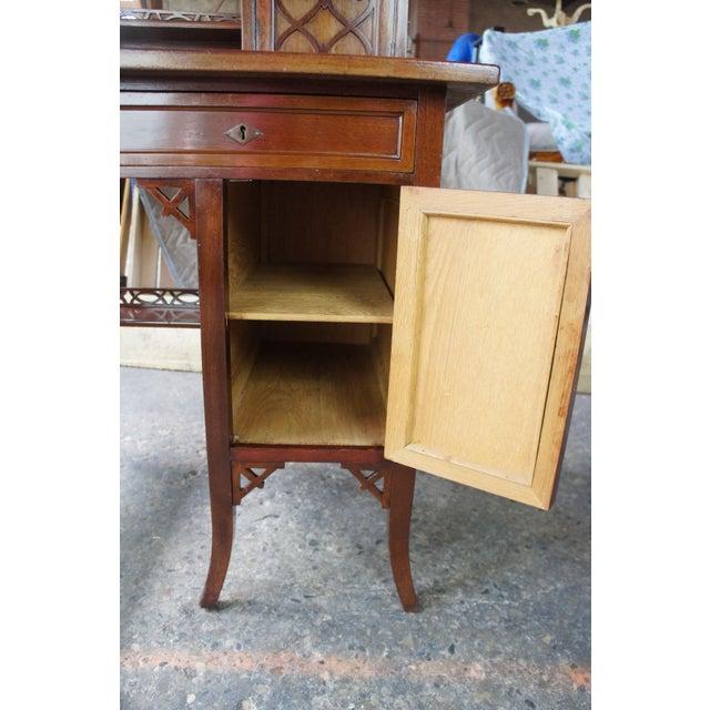 Antique Victorian German Desk Green Vinyl Top Gothic Pierced Fret Board Writing Desk For Sale - Image 10 of 13