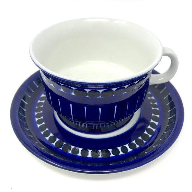 """1960s ceramic cup and saucer designed by Ulla Procope for Arabia of Finland's Valenica line. Cup measures: 4"""" in diameter..."""