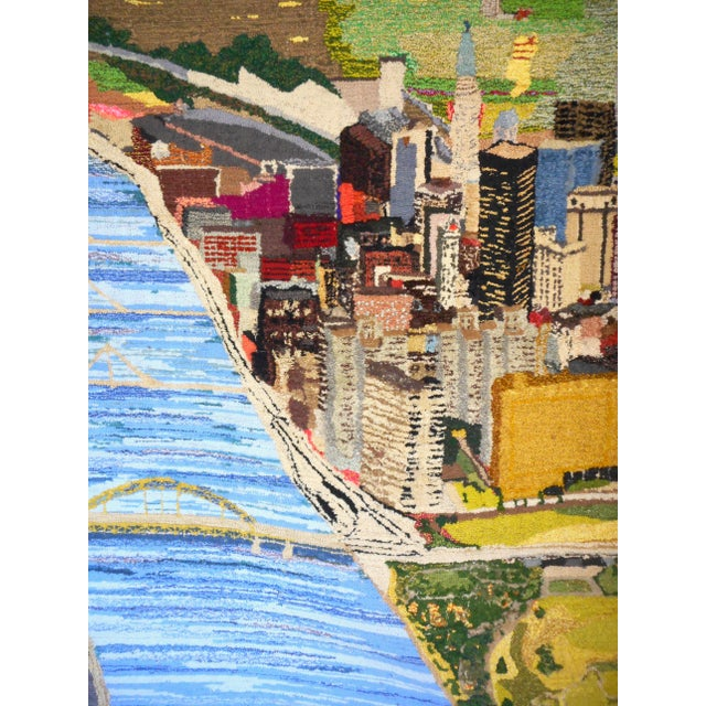 1960s Hand Woven Heinz Pittsburgh Pennsylvania Tapestry Fibre Art Wall Hanging For Sale In Las Vegas - Image 6 of 12
