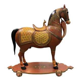 Mid-20th Century Hand Painted Wood Horse + Wheels For Sale