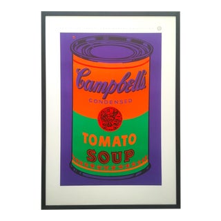 """Andy Warhol Estate Rare Vintage 1989 1st Edition Lithograph Print Large Framed Pop Art Poster """" Colored Campbell's Soup Can """" 1965 For Sale"""