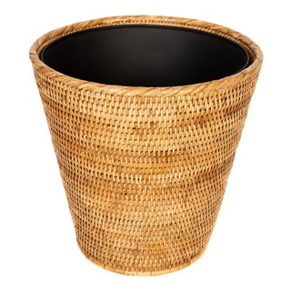 Artifacts Rattan Round Tapered Waste Basket With Metal Liner For Sale