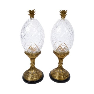 Maitland-Smith Bronze and Crystal Pineapple Ornaments, Germany, a Pair