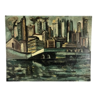 Vintage Mid-Century Cityscape Oil on Board Painting For Sale