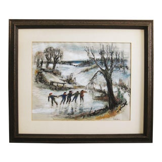 1960s Vintage Kids Ice Skating Winter Landscape Framed Painting For Sale
